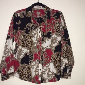 CHICO'S Scroll and Leopard Blouse
